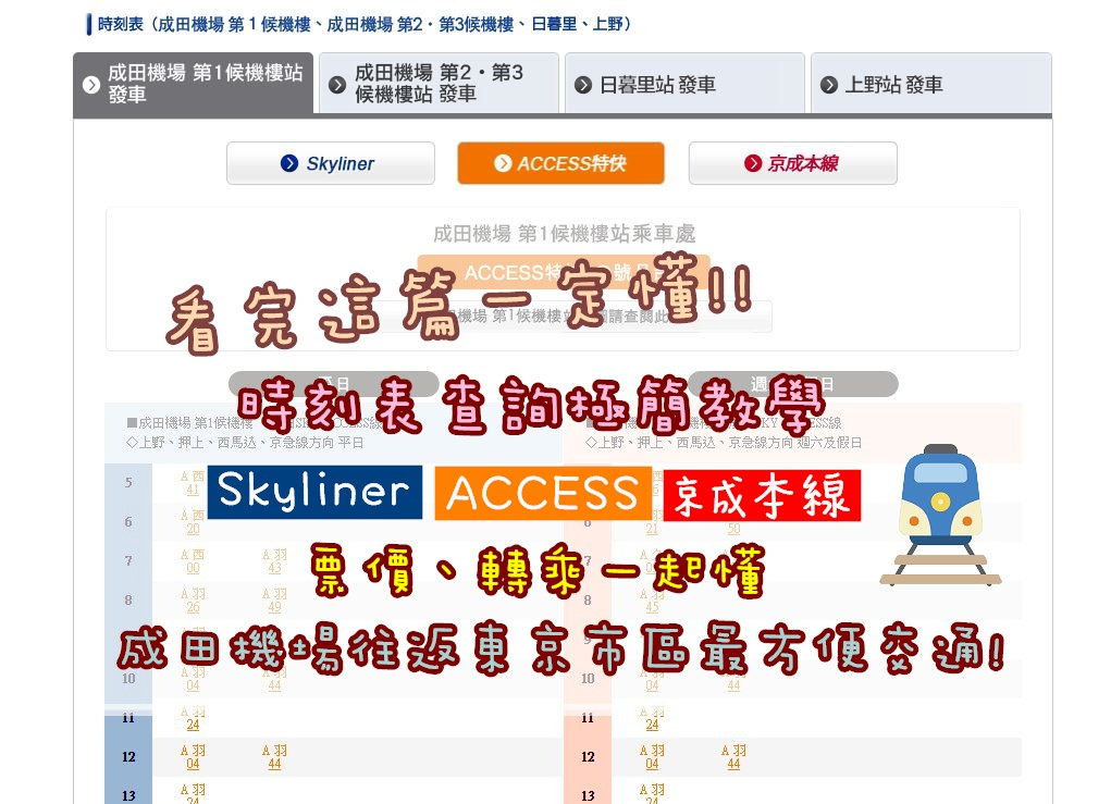 ACCESS、京成本線時刻表查詢