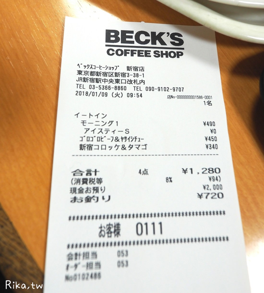 東京新宿車站Beck's Coffee