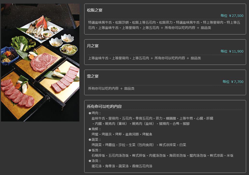 東京新宿燒肉美食 六歌仙Rokkosen 菜單
